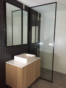 Frosted Black Frame Shower Screen